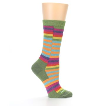Image of Green Pink Offset Stripe Wool Women's Socks (side-1-24)