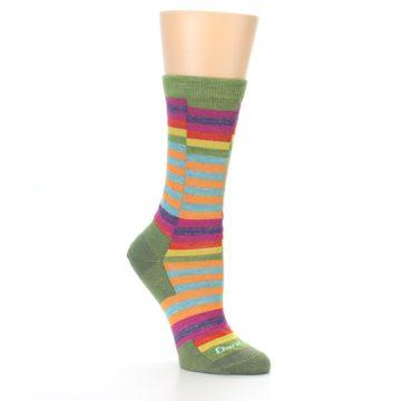 Image of Green Pink Offset Stripe Wool Women's Socks (side-1-26)