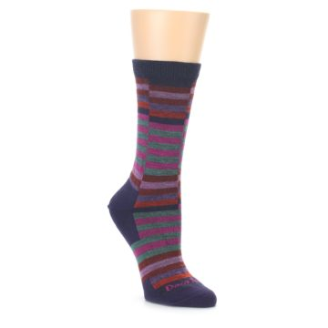 Image of Navy Offset Stripe Wool Women's Socks (side-1-front-01)