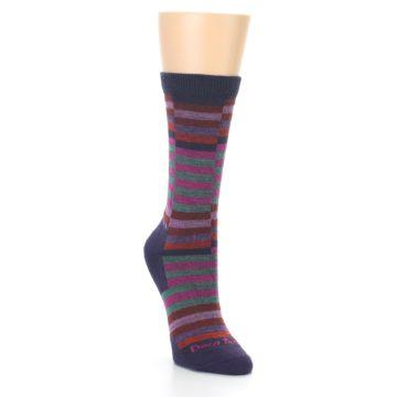 Image of Navy Offset Stripe Wool Women's Socks (side-1-front-02)