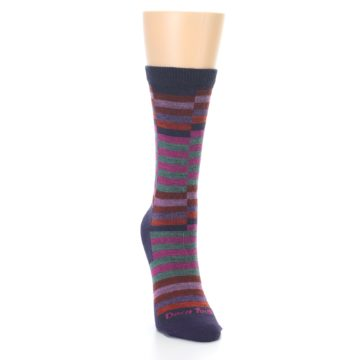 Image of Navy Offset Stripe Wool Women's Socks (side-1-front-03)