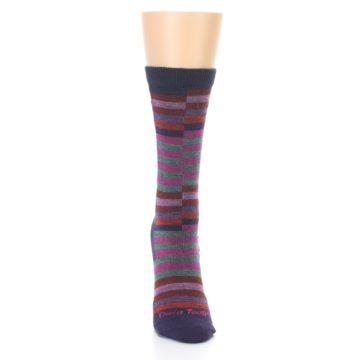 Image of Navy Offset Stripe Wool Women's Socks (front-04)