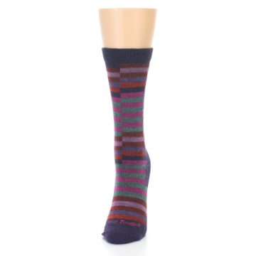 Image of Navy Offset Stripe Wool Women's Socks (side-2-front-06)