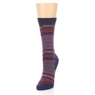 Image of Navy Offset Stripe Wool Women's Socks (side-2-front-07)