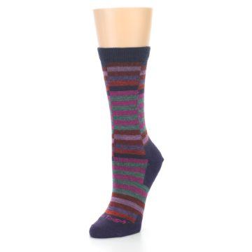 Image of Navy Offset Stripe Wool Women's Socks (side-2-front-08)