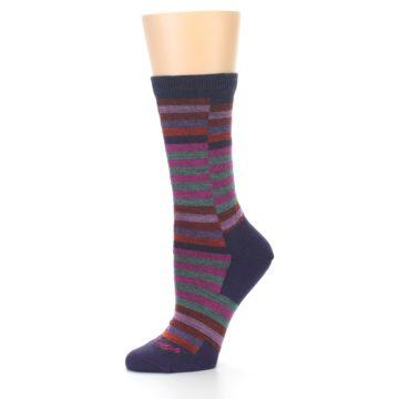 Image of Navy Offset Stripe Wool Women's Socks (side-2-10)