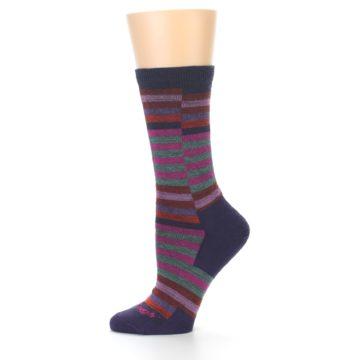 Image of Navy Offset Stripe Wool Women's Socks (side-2-11)