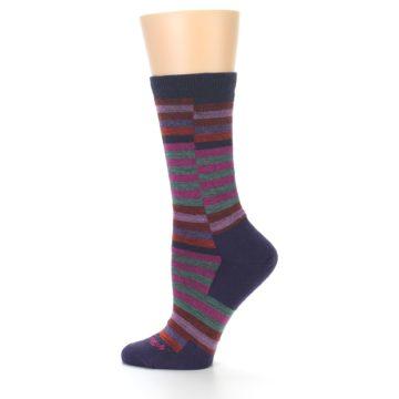 Image of Navy Offset Stripe Wool Women's Socks (side-2-12)