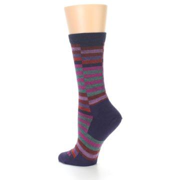 Image of Navy Offset Stripe Wool Women's Socks (side-2-back-14)