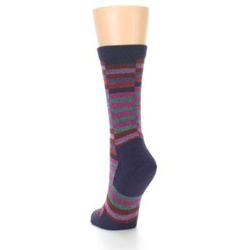 Image of Navy Offset Stripe Wool Women's Socks (side-2-back-16)