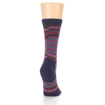 Image of Navy Offset Stripe Wool Women's Socks (side-1-back-20)