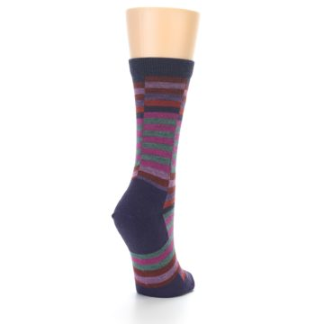 Image of Navy Offset Stripe Wool Women's Socks (side-1-back-21)