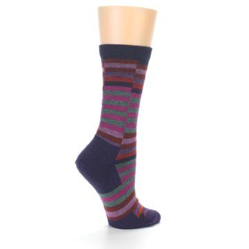 Image of Navy Offset Stripe Wool Women's Socks (side-1-23)