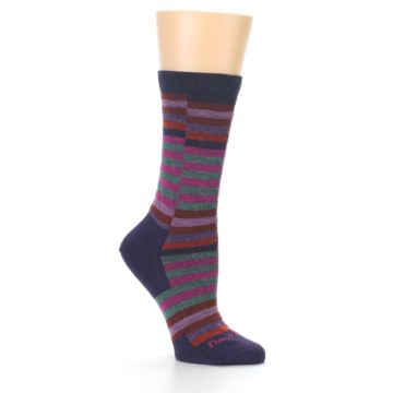 Image of Navy Offset Stripe Wool Women's Socks (side-1-26)