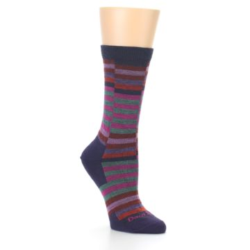 Image of Navy Offset Stripe Wool Women's Socks (side-1-27)