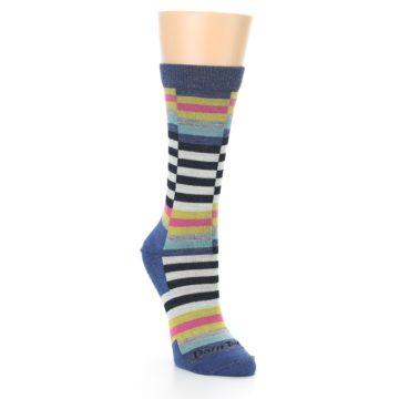 Image of Blue Offset Stripe Wool Women's Socks (side-1-front-02)