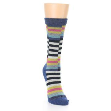 Image of Blue Offset Stripe Wool Women's Socks (side-1-front-03)