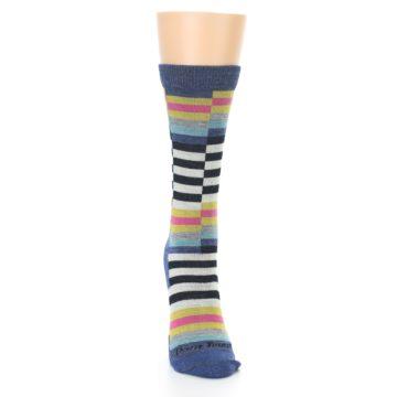 Image of Blue Offset Stripe Wool Women's Socks (front-04)