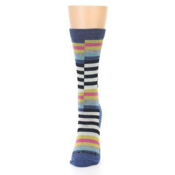 Image of Blue Offset Stripe Wool Women's Socks (side-2-front-06)
