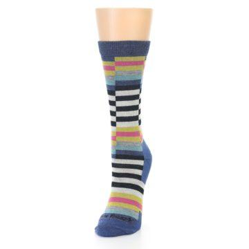 Image of Blue Offset Stripe Wool Women's Socks (side-2-front-07)