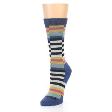 Image of Blue Offset Stripe Wool Women's Socks (side-2-front-08)