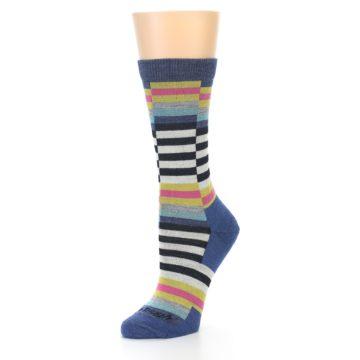 Image of Blue Offset Stripe Wool Women's Socks (side-2-09)