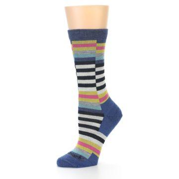 Image of Blue Offset Stripe Wool Women's Socks (side-2-10)