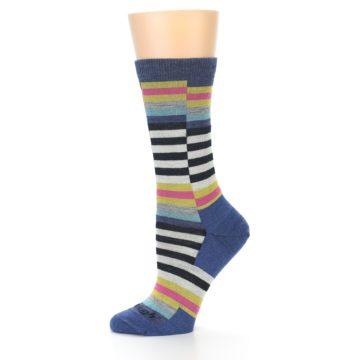 Image of Blue Offset Stripe Wool Women's Socks (side-2-11)
