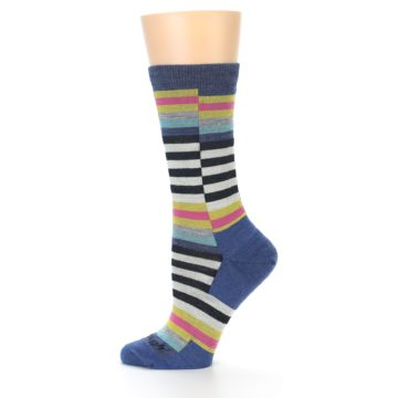 Image of Blue Offset Stripe Wool Women's Socks (side-2-12)