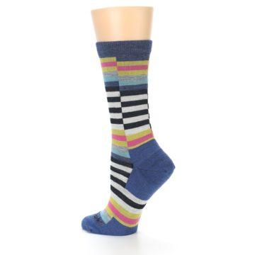 Image of Blue Offset Stripe Wool Women's Socks (side-2-back-14)