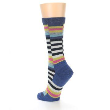 Image of Blue Offset Stripe Wool Women's Socks (side-2-back-15)