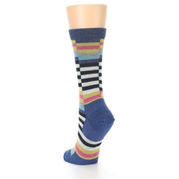 Image of Blue Offset Stripe Wool Women's Socks (side-2-back-16)