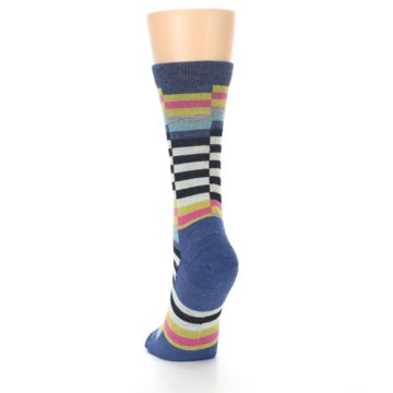 Image of Blue Offset Stripe Wool Women's Socks (back-17)