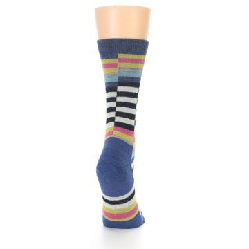 Image of Blue Offset Stripe Wool Women's Socks (side-1-back-20)