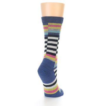 Image of Blue Offset Stripe Wool Women's Socks (side-1-back-21)