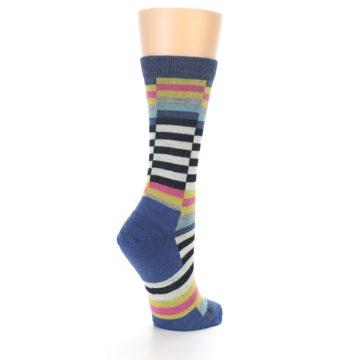 Image of Blue Offset Stripe Wool Women's Socks (side-1-back-22)