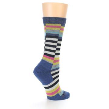 Image of Blue Offset Stripe Wool Women's Socks (side-1-23)