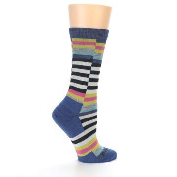 Image of Blue Offset Stripe Wool Women's Socks (side-1-24)