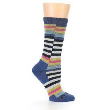 Image of Blue Offset Stripe Wool Women's Socks (side-1-25)