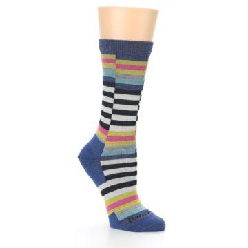 Image of Blue Offset Stripe Wool Women's Socks (side-1-27)