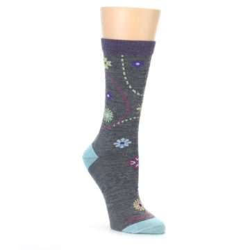 Darn Tough Women's Socks Garden Floral Medium Gray