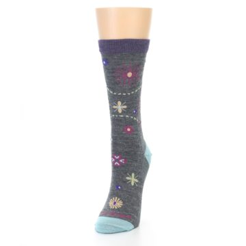 Image of Grey Garden Floral Wool Women's Socks (side-2-front-07)