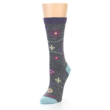 Image of Grey Garden Floral Wool Women's Socks (side-2-front-08)