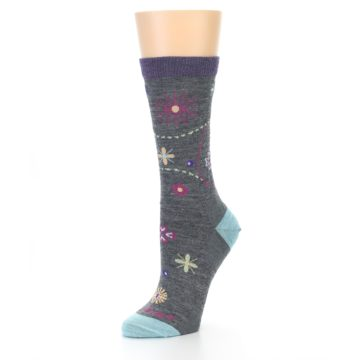 Image of Grey Garden Floral Wool Women's Socks (side-2-09)