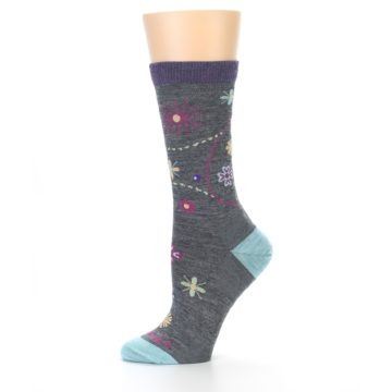 Image of Grey Garden Floral Wool Women's Socks (side-2-11)