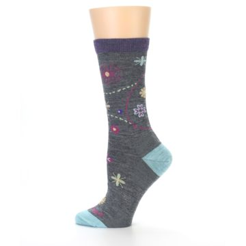 Image of Grey Garden Floral Wool Women's Socks (side-2-12)