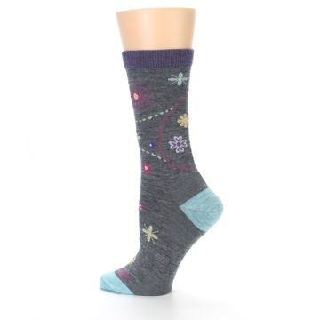 Image of Grey Garden Floral Wool Women's Socks (side-2-13)