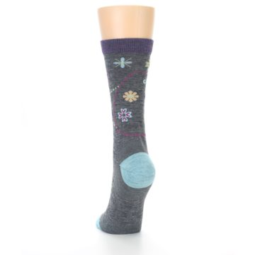 Image of Grey Garden Floral Wool Women's Socks (back-17)
