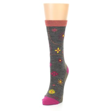 Image of Taupe Garden Floral Wool Women's Socks (side-2-front-07)