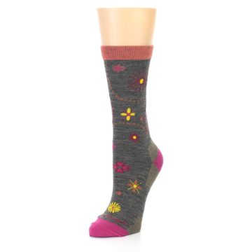 Image of Taupe Garden Floral Wool Women's Socks (side-2-front-08)